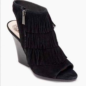 Vince Camuto Jadon Black Suede Fringe Sandals